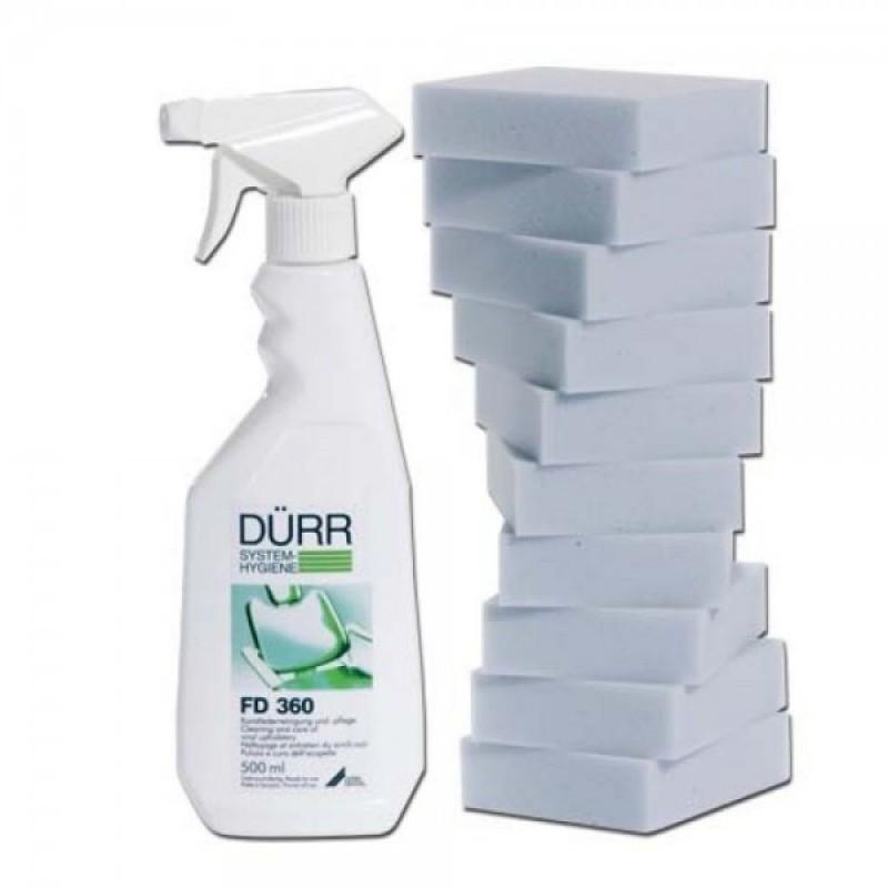 Жидкость для очистки и уходом за изделиями из искуственной кожи (жидкость 500 мл + 10 губок)