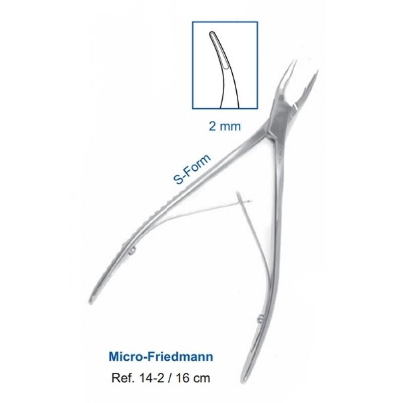 Кусачки костные S-образные Micro-Friedmann 16,0 см (рабочая часть 2 мм) 14-2