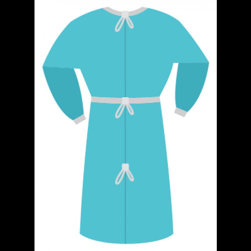Халат стерильный одноразовый (рукав на резинке, ворот на завязках)