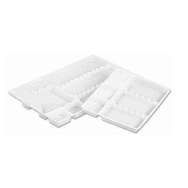 Лотки пластиковые широкие одноразовые, 281*183*17 с гофрированным дном, коробка 400 шт.
